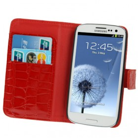 Crocodile Texture Flip Leather Case with Credit Card Slot & Holder for Samsung Galaxy SIII / i9300 - Red