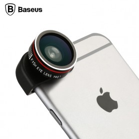 Lensa Kamera / Lensa Fisheye - Baseus 3 in 1 Fisheye Wide Angle Macro Lens for iPhone 6/6s/6+/6s+ - Black