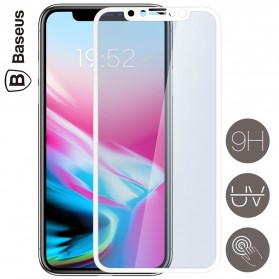 Baseus Silkprint Anti Blue Light PET 3D Tempered Glass for iPhone X/XS - White