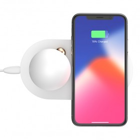 Baseus Mushroom Qi Wireless Charger dengan Lampu LED - White