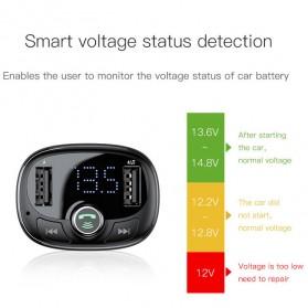 Baseus 2 in 1 Smart Car Bluetooth Audio Transmitter + USB Charging - S-09T - Black - 3