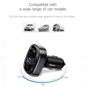 Baseus 2 in 1 Smart Car Bluetooth Audio Transmitter + USB Charging - S-09T - Black - 4