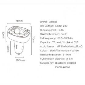 Baseus 2 in 1 Smart Car Bluetooth Audio Transmitter + USB Charging - S-09T - Black - 6