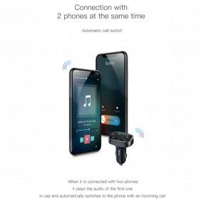 Baseus 2 in 1 Smart Car Bluetooth Audio Transmitter + USB Charging - S-09T - Black - 8