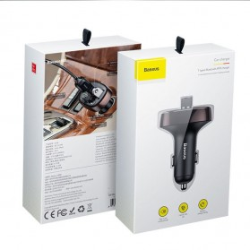 Baseus 2 in 1 Smart Car Bluetooth Audio Transmitter + USB Charging - S-09T - Black - 10