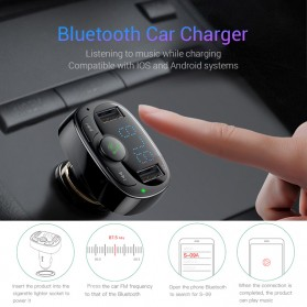 Baseus 2 in 1 Smart Car Bluetooth Audio Transmitter + USB Charging - S-09A - Black - 2