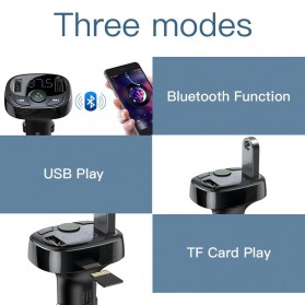 Baseus 2 in 1 Smart Car Bluetooth Audio Transmitter + USB Charging - S-09A - Black - 3