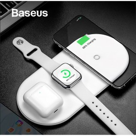 Baseus Fast Wireless Charger Pad 3 in 1 Smartphone Airpods Apple Watch - WX3IN1 - White