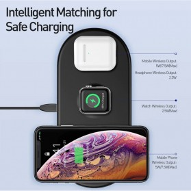 Baseus Fast Wireless Charger Pad 3 in 1 Smartphone Airpods Apple Watch - WX3IN1 - White - 2