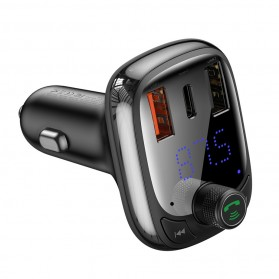 Baseus Car Bluetooth 5.0 FM Audio Transmitter with 3 USB Port + TF Card Slot - CCTM-B01 - Black