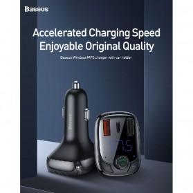 Baseus Car Bluetooth 5.0 FM Audio Transmitter with 3 USB Port + TF Card Slot - CCTM-B01 - Black - 10