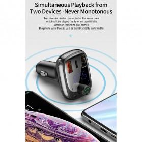 Baseus Car Bluetooth 5.0 FM Audio Transmitter with 3 USB Port + TF Card Slot - CCTM-B01 - Black - 2