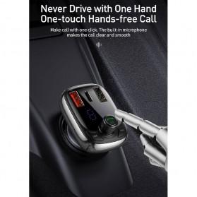 Baseus Car Bluetooth 5.0 FM Audio Transmitter with 3 USB Port + TF Card Slot - CCTM-B01 - Black - 4