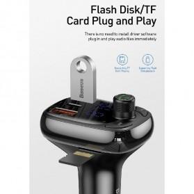 Baseus Car Bluetooth 5.0 FM Audio Transmitter with 3 USB Port + TF Card Slot - CCTM-B01 - Black - 5