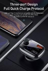 Baseus Car Bluetooth 5.0 FM Audio Transmitter with 3 USB Port + TF Card Slot - CCTM-B01 - Black - 8