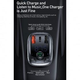 Baseus Car Bluetooth 5.0 FM Audio Transmitter with 3 USB Port + TF Card Slot - CCTM-B01 - Black - 9