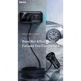 Baseus S-16 Bluetooth 5.0 Audio Receiver FM Transmitter with 2 Port USB Car Charger - CCTM-E01 - Black - 2