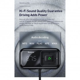 Baseus S-16 Bluetooth 5.0 Audio Receiver FM Transmitter with 2 Port USB Car Charger - CCTM-E01 - Black - 4