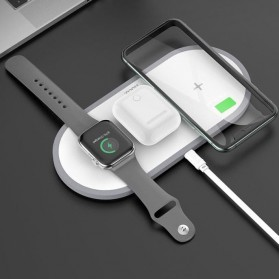 Hoco Fast Wireless Charger Pad 3 in 1 Smartphone Airpods Apple Watch - CW24 - White
