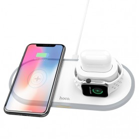 Hoco Fast Wireless Charger Pad 3 in 1 Smartphone Airpods Apple Watch - CW21 - White