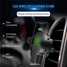 Rock Car Holder Qi Wireless Charger - W2 - Black - 4