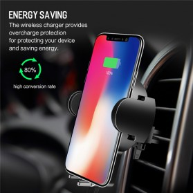 Rock Car Holder Qi Wireless Charger - W2 - Black - 5