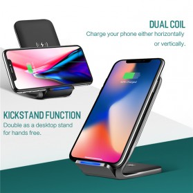 Rock Qi Wireless Charger Docking Stand Dual Coil - W3 - Black - 2