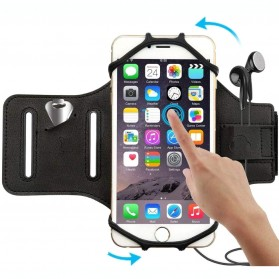 Olahraga Lari - BUBM Sport Armband Rotateable Smartphone Case Universal - XD216 - Black