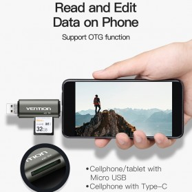 Vention All in One OTG Smart Card Reader USB Type-C 2.0 - Gray - 3
