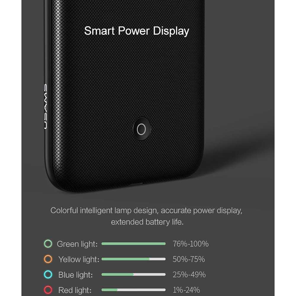 promo code fe11d 71905 USAMS Smart Charging Power Bank Case 4200mAh for iPhone 7 Plus / 8 Plus -  Black