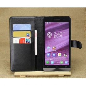 Leather Wallet Case for Asus Zenfone 5 - Black - 4