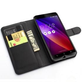 Leather Wallet Case for Asus Zenfone 5 - Black - 5