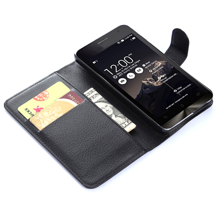 new style 0d461 0b718 Leather Wallet Case for Asus Zenfone 5 - Black