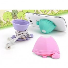 Tortoise Silicone Stand Earphone Wrap Holder for Smartphone - Blue - 3