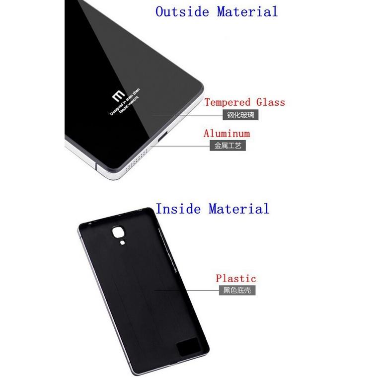 Aluminium Tempered Glass Hard Case for Xiaomi Redmi 1s Silver Black 4 .