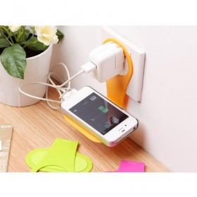 Smartphone Wall Adapter Charger Stand Bracket Holder - Brown