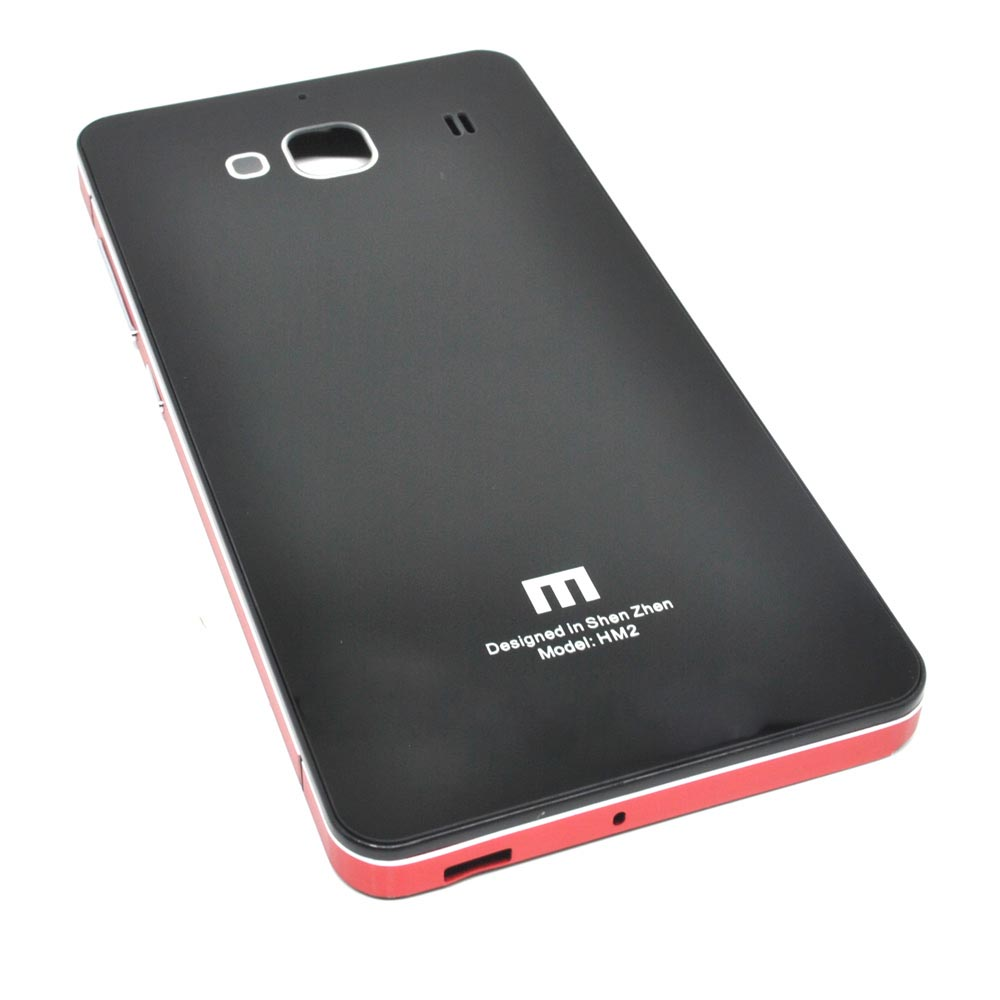 online store 95b45 6b047 Aluminium Tempered Glass Hard Case for Xiaomi Redmi 2 / Redmi 2 Prime -  Black/Red