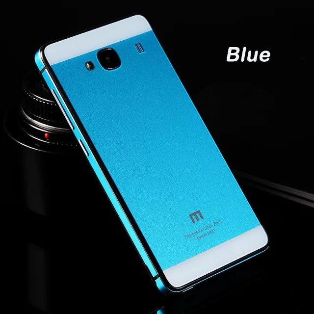 brand new f5596 14cab Aluminium Tempered Glass Hard Case for Xiaomi Redmi 2 / Redmi 2 Prime - Blue