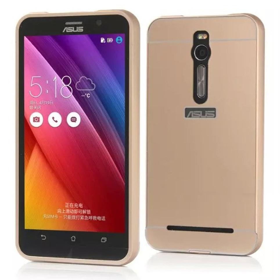 low priced bf2c4 4cd74 Aluminium Bumper Case with Arcylic Back for Asus Zenfone 2 ZE551ML - Golden