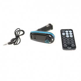 Car FM MP3 Modulator with USB Charger 2.1A for Smartphone - 618C - Black/Blue - 6