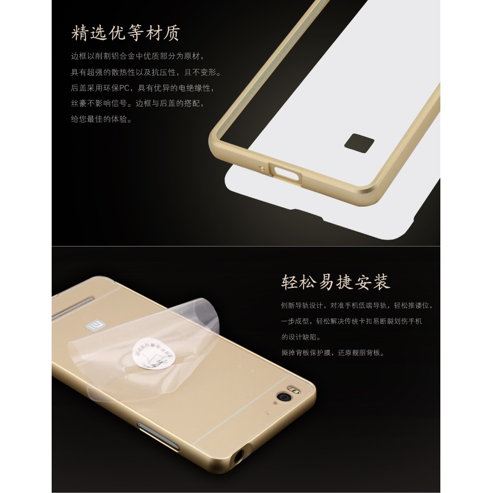 Aluminium Bumper Case With Arcylic Back For Xiaomi Mi4i Mi4c Mi 4c 2 16 Garansi 1 Tahun Black 4