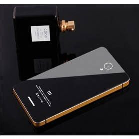 Aluminium Tempered Glass Hard Case for Xiaomi Redmi Note 2 - Black Gold