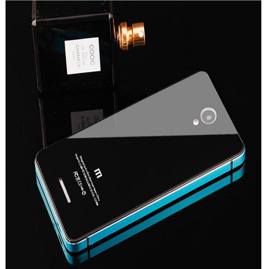 ... Aluminium Tempered Glass Hard Case for Xiaomi Redmi Note 2 - Black Blue - 1 ...