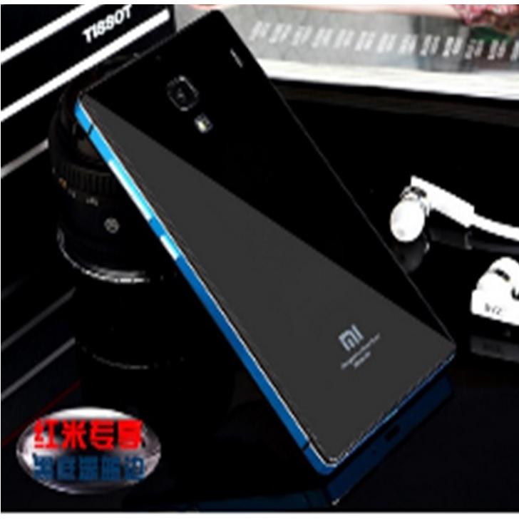 ... Aluminium Tempered Glass Hard Case for Xiaomi Redmi Note 2 - Black Blue - 2 ...