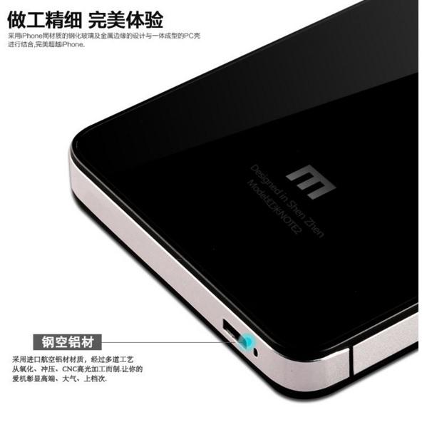 Aluminium Tempered Glass Hard Case for Xiaomi Redmi Note 2 - Black/Silver - 8 ...