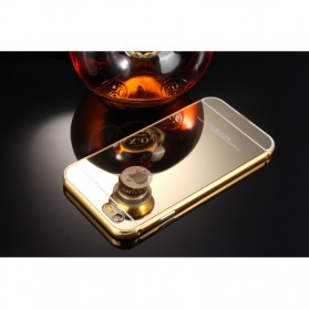 Aluminium Bumper with Mirror Back Cover for iPhone 5/5s/SE - Golden - 2