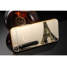 Aluminium Bumper with Mirror Back Cover for iPhone 5/5s/SE - Golden - 4