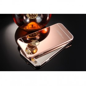 Aluminium Bumper with Mirror Back Cover for iPhone 5/5s/SE - Golden - 5