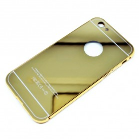 Aluminium Bumper with Mirror Back Cover for iPhone 6/6s - Golden