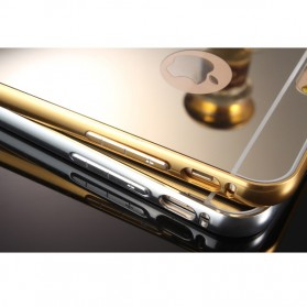 Aluminium Bumper with Mirror Back Cover for iPhone 6/6s - Golden - 6